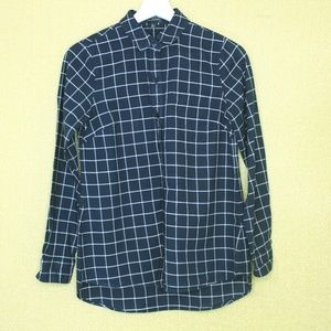 The Limited Navy Blue White Check Button Down